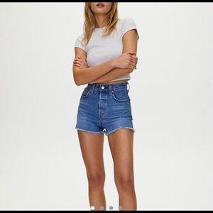 Levi's ribcage jean shorts
